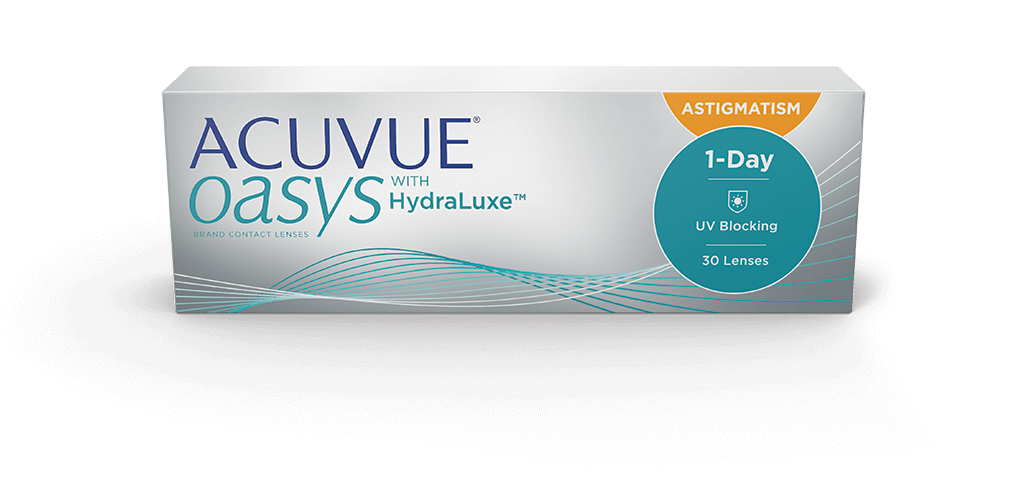 עדשות מגע יומיות Acuvue Oasys 1-Day with HydraLuxe for Astigmatism - צילינדר